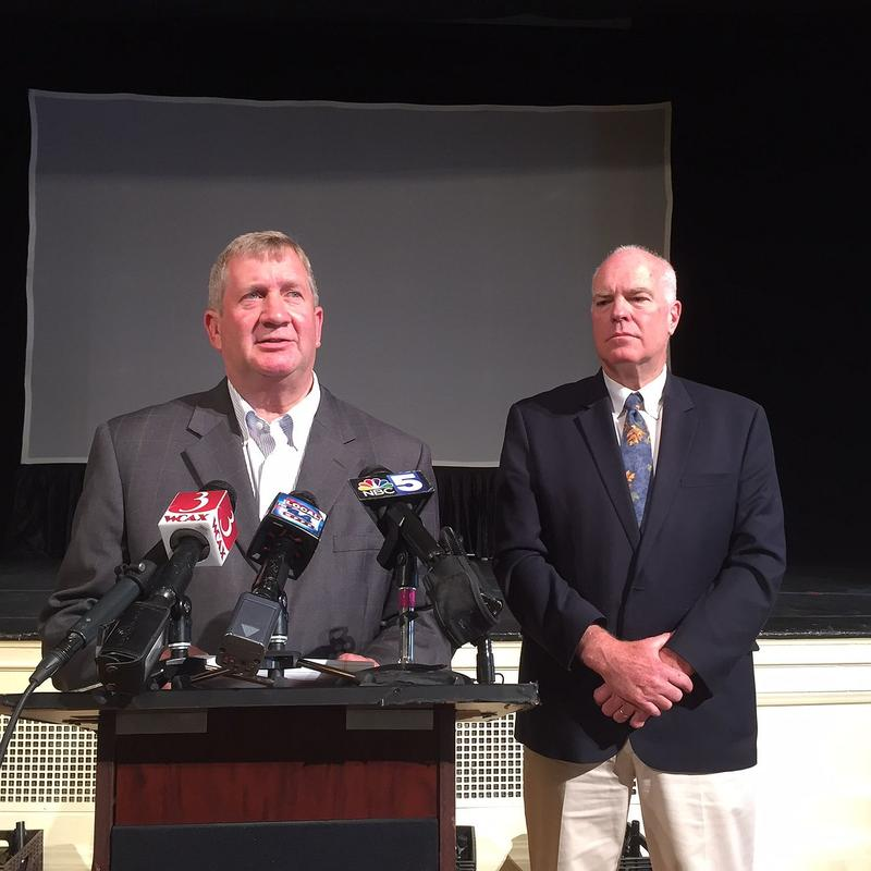 Burlington Rep. Kurt Wright, left, and Caledonia County Sen. Joe Benning held a press conference at Burlington City Hall Monday. They say they'll push for legislation next year that would ban teacher strikes.