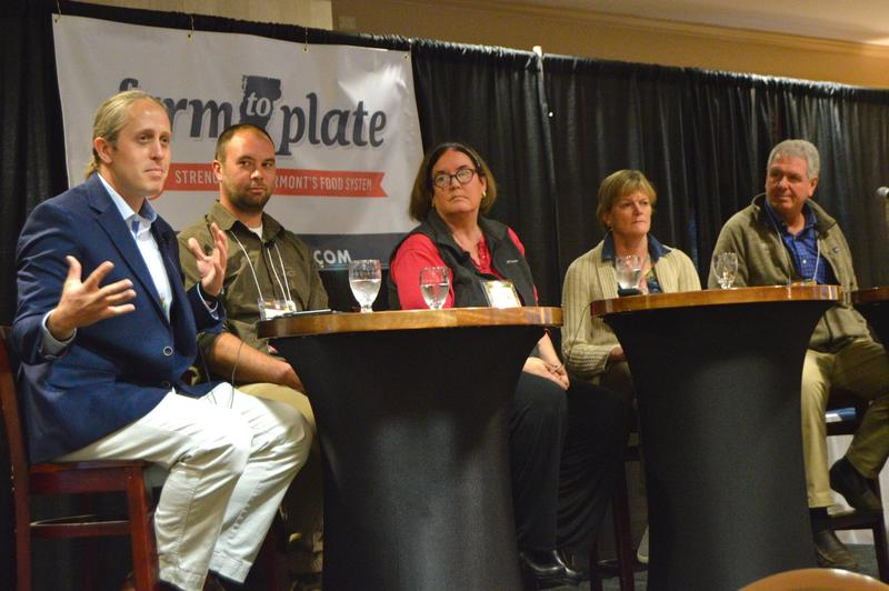 Ryan Christiansen of Caledonia Spirits, Ben Whitcomb of the North Williston Cattle Company, Lisa Lorimer, former owner of the Vermont Bread Company, Allison Hooper, former owner of Vermont Creamery and Charles Storey of Harpoon Brewery spoke on a panel.