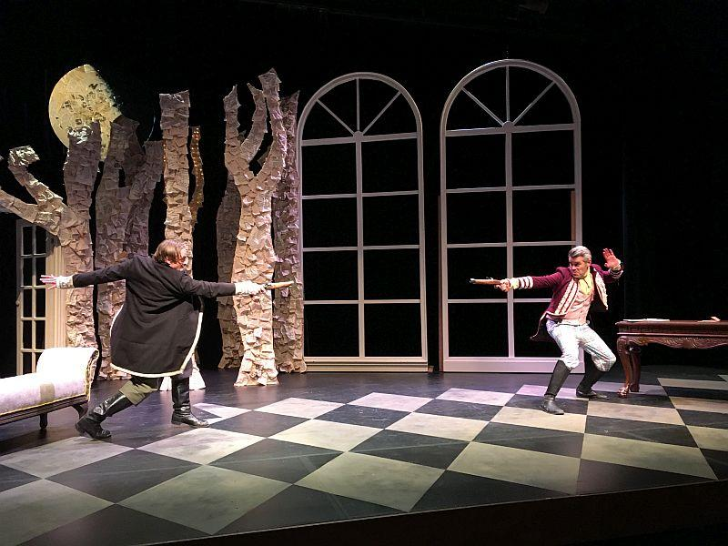 Actors Andy Butterfield, left, and Jory Raphael of the Middlebury Actors Workshop practice the duel scene from the French farce