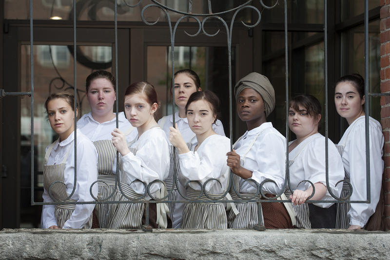 "The cast of ""Mill Girls"" at the Champlain Mill in Winooski. There will be free performances of the show at Saint Michael's College in November."
