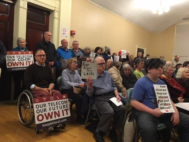 Supporters of Keep BT Local came out in droves to the Burlington City Council meeting Monday to voice their support for the co-op's bid to buy Burlington Telecom. The council advanced the bids of Tuecows/Ting and Keep BT Local.
