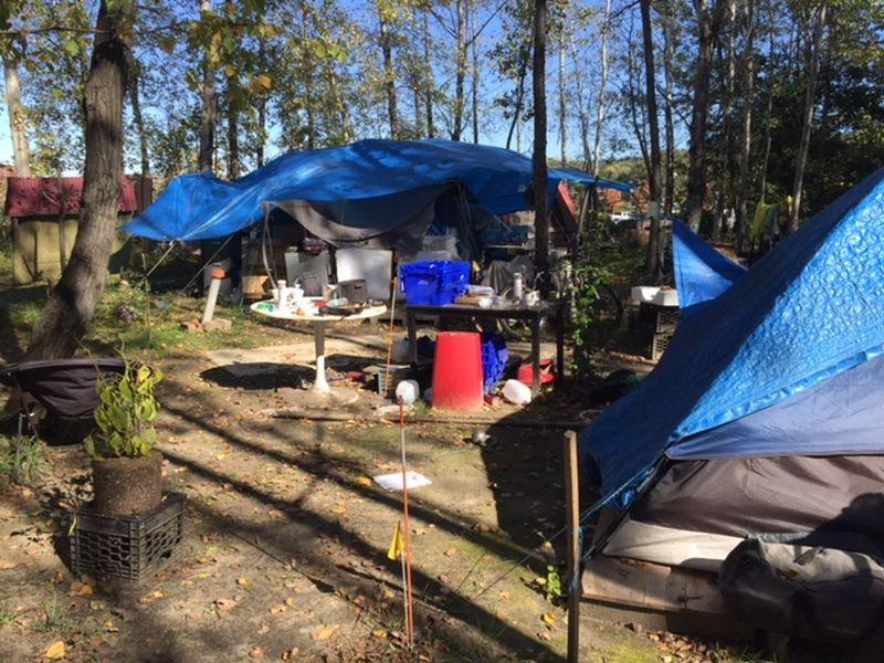 The encampment on Sears Lane in Burlington was taken down by the city this week. A judge ruled Friday to block the city from taking down another encampment on Monday.