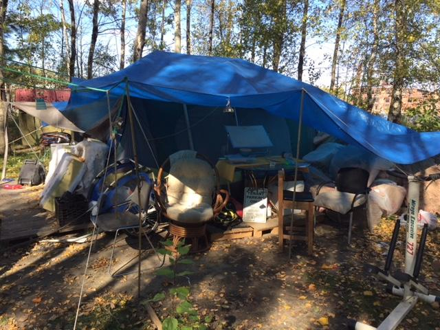 The encampment on Sears Lane in Burlington was taken down by the city. The city decided to take down the camp after reports of domestic violence and drug use.