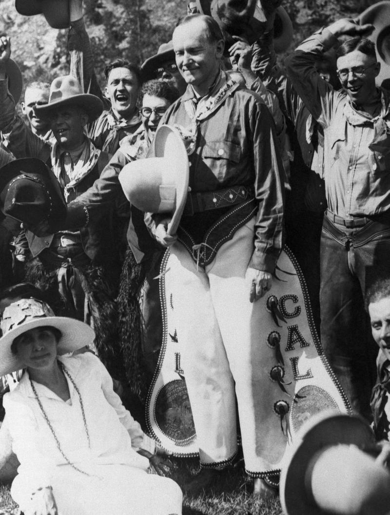 President Calvin Coolidge donned cowboy regalia while at a July 4 celebration in Rapid City, S.D., in 1927.