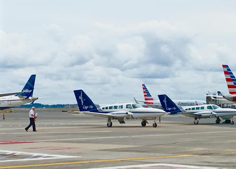 Cape Air planes on the tarmac at Boston Airport. Airline officials say they've gotten many requests from people in the northeast to carry hurricane relief items to Puerto Rico and other islands recently hit hard by hurricanes.