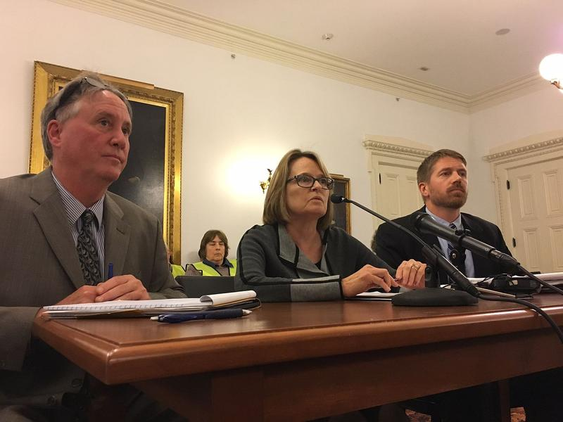 John Cotter, Margaret Cheney and Tom Knauer, from left, of the Public Utility Commission. On Thursday, a legislative panel approved the commission's proposal for stricter sound limits for wind turbines.