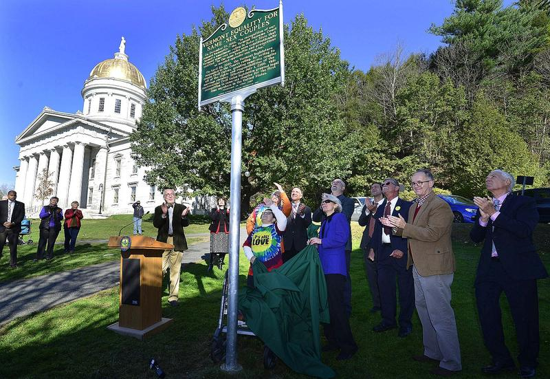 Some of the principal figures behind civil unions and same-sex marriage in Vermont celebrate the unveiling of a historic marker honoring passage of the laws.