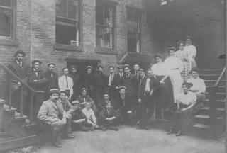 This picture was taken of the employees of E. L. Hildreth Printing Company, in the 1890s.