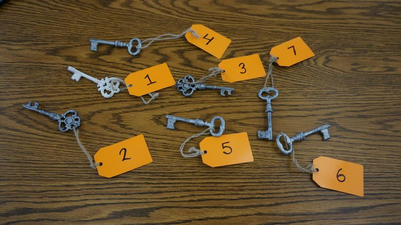 "Author Marina Cohen handed out these old-fashioned keys during her talk at Swanton Public Library. There were seven keys, to correspond with the seven secrets Cohen was sharing about her novel ""The Inn Between."""