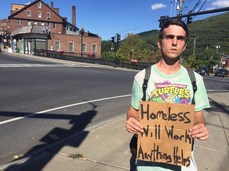 James Douglas is homeless and he says he panhandles around Brattleboro. Douglas says he has beeen collecting less money since the selectboard began a townwide dialogue on panhandling.