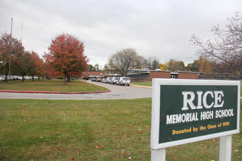 Three Transportation Security Administration trucks brought bomb-sniffing dogs to Rice Memorial High School in South Burlington after a bomb threat Tuesday morning.