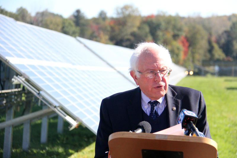 Sen. Bernie Sanders visited a solar testing center in Williston on Thursday, Oct. 12, 2017.