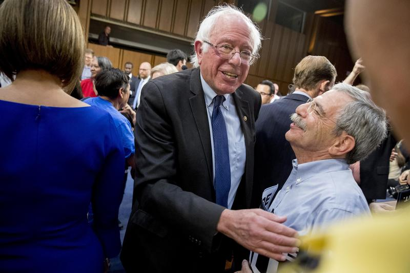 Sen. Bernie Sanders, pictured here on Capitol Hill after a news conference announcing his