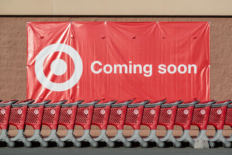 Signage in front of a soon-to-be Target in 2013. The first Vermont store, to be located in the University Mall in South Burlington, has attracted strong feelings from Vermonters.