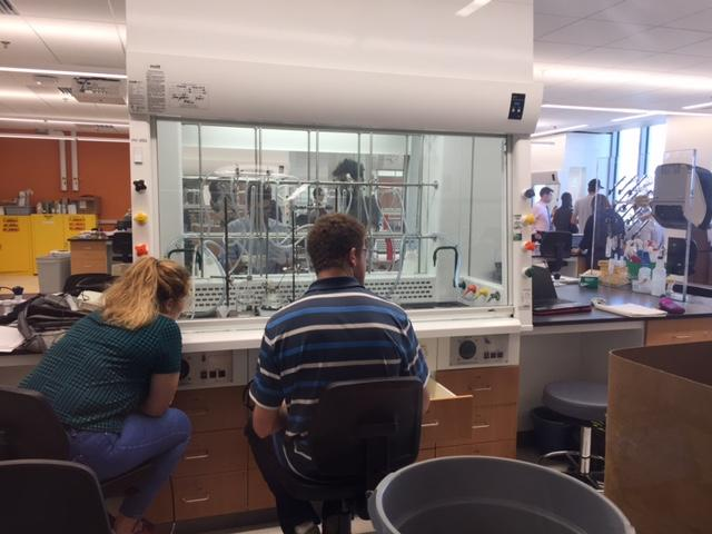 Students at the University of Vermont in a lab in Discovery Hall, a new building part of the university's expansion of its STEM complex.