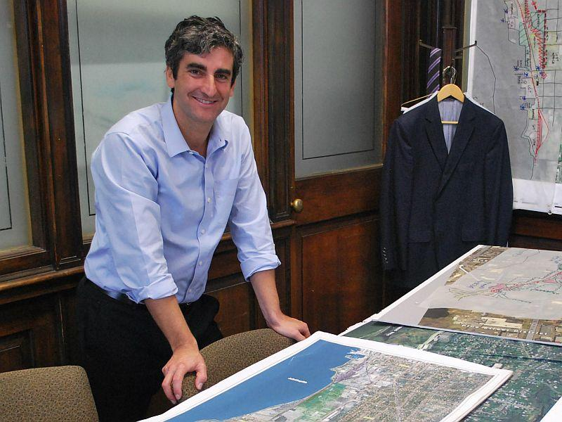 "In this file photo, Burlington Mayor Miro Weinberger looks over Champlain Parkway development plans. Weinberger joins ""Vermont Edition"" to discuss key issues facing the city, including the sale of Burlington Telecom and downtown development."
