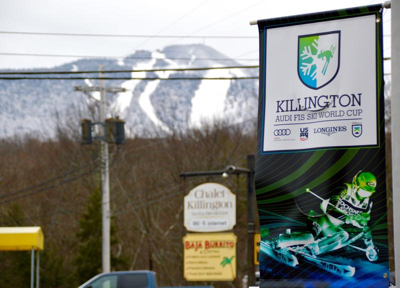 Colorful banners on Killington's access road tout the upcoming Women's World Cup races November 25-26. An estimated 30,000 people came to see the event last year.