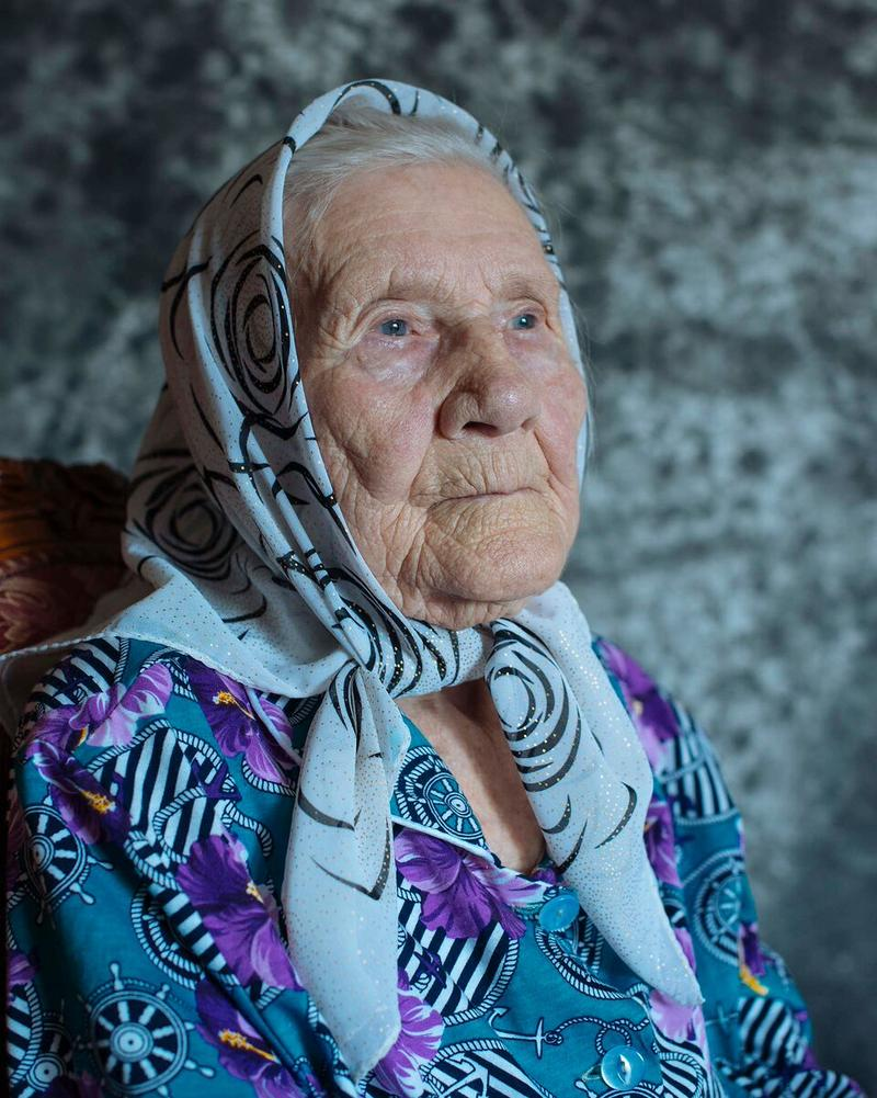 Alexandra Pilyasova (Khimki), born May 20, 1917. Alexandra's family was branded as kulaks (rich peasants) after the revolution, she believes, because other villagers were jealous of her family.