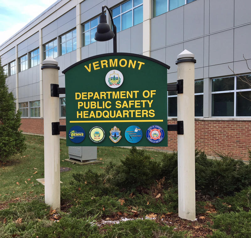 The sign outside the Vermont Department of Public Safety headquarters.
