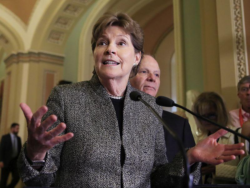 New Hampshire Senator Jeanne Shaheen, shown speaking on Capitol Hill in Washington, joins