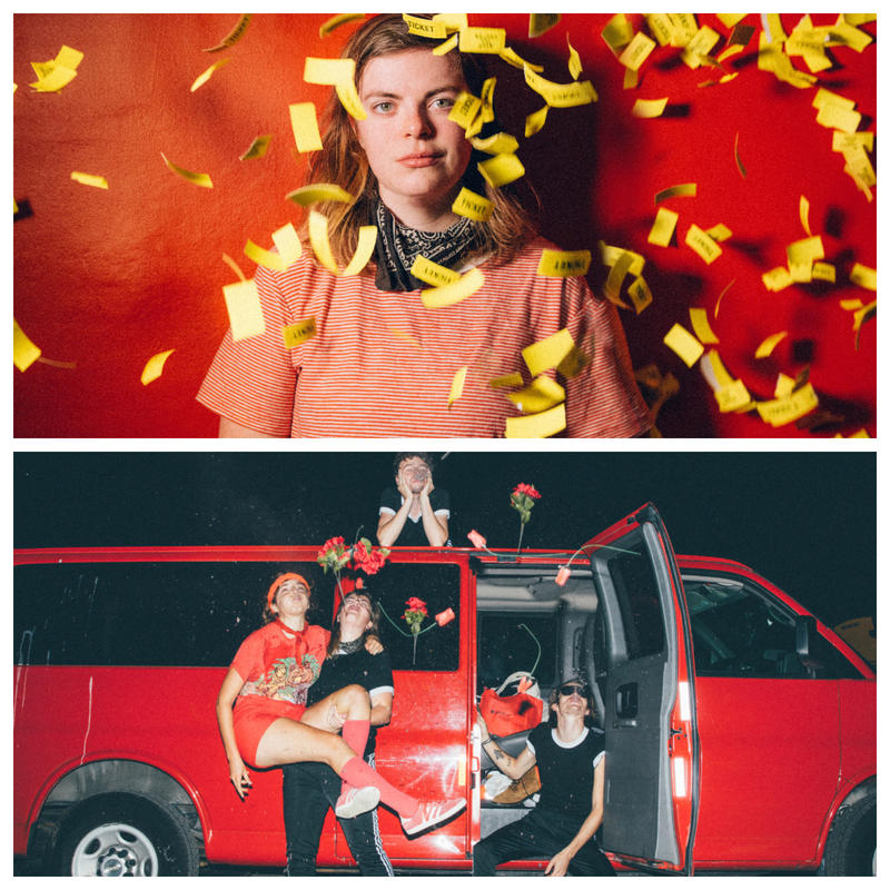 Abbie Morin from Hammydown (top) and Caroline Rose, Willoughby Morse, Joshua Speers, and Abbie Morin (bottom) will perform at ArtsRiot to celebrate women and non-binary folks in the male-dominated music industry.