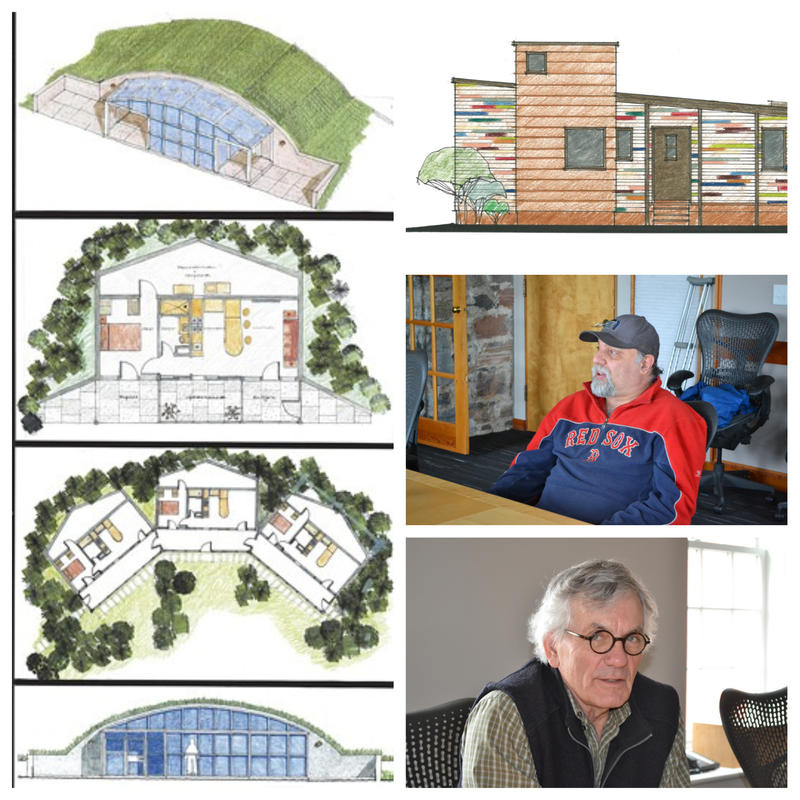 Some renderings in 'Imagining Home' include dwellings covered by a grass berm for growing vegetables from project participant, Mitchell White and Truex Cullins architect, Rolf Kielman. A design by Michael Wisniewski, architect for Stephen Marshall (top r)