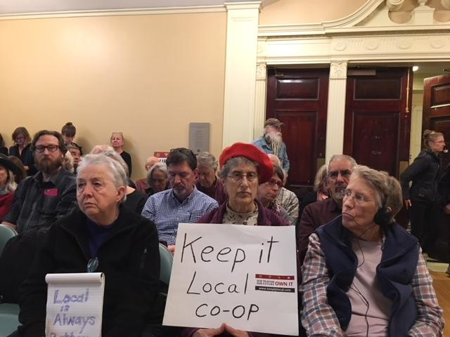 Residents attending the City Council meeting in support of Keep BT Local. The council was unable to pick a buy for BT and instead asked the two finalist to pursue forming a joint venture.