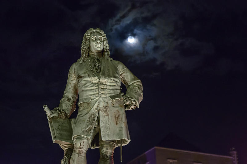 A statue of George Frideric Handel is pictured here at night in Halle, Germany.