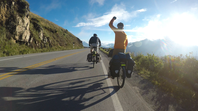 Cameron Russell and Noah McCarter bike through the mountains of Peru.