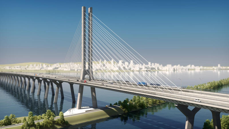 "A daytime rendering of the new Champlain bridge that is currently under construction. ""Montreal Gazette"" reporter Jason Magder spoke to ""Vermont Edition"" to update on the bridge's progress."