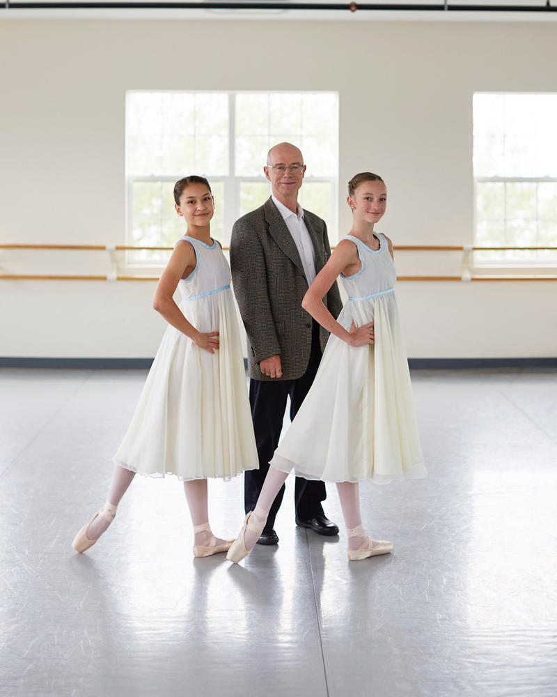 "John Killacky joins dancers Eleanor Kinney and Lissome Hall at Vermont Ballet Theater studios.  Kinney and Hall will be alternating as ""Clara."""