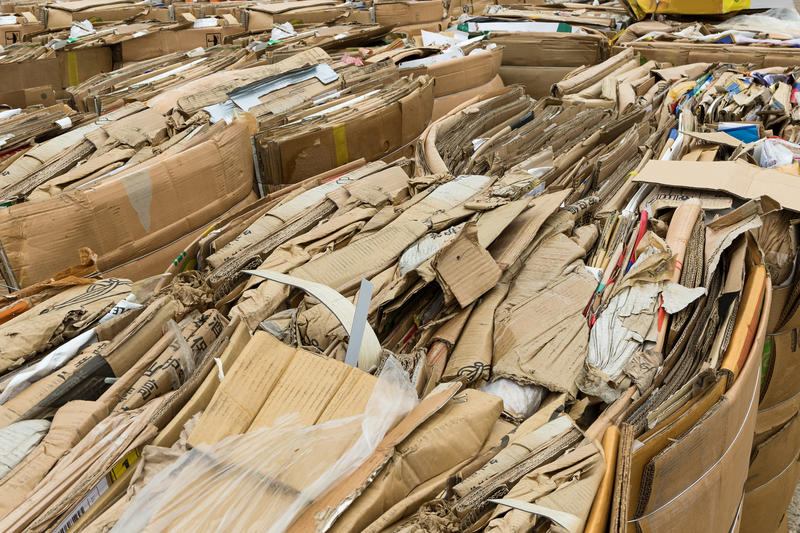 piles of cardboard box recycling