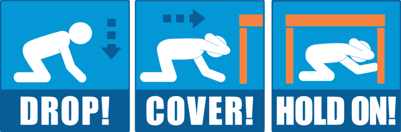 Drop, Cover, and Hold On illustration via ShakeOut