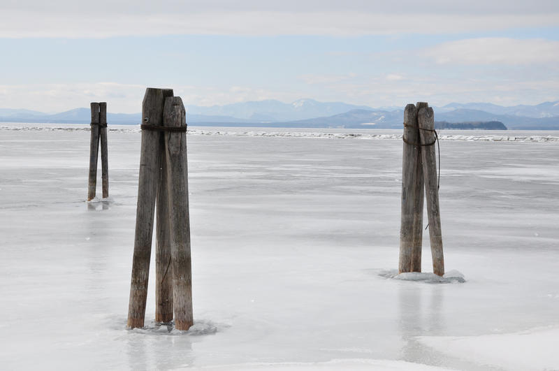 undated photo of Lake Champlain frozen over.