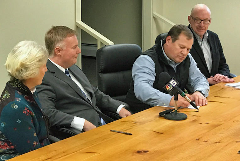 State Senator Jane Kitchel, Joe Rossignoli of National Grid, Northeastern Vermont Development Association President Grant Spates and NVDA Executive Director Dave Snedeker were on hand for the signing of a Memorandum of Understanding.