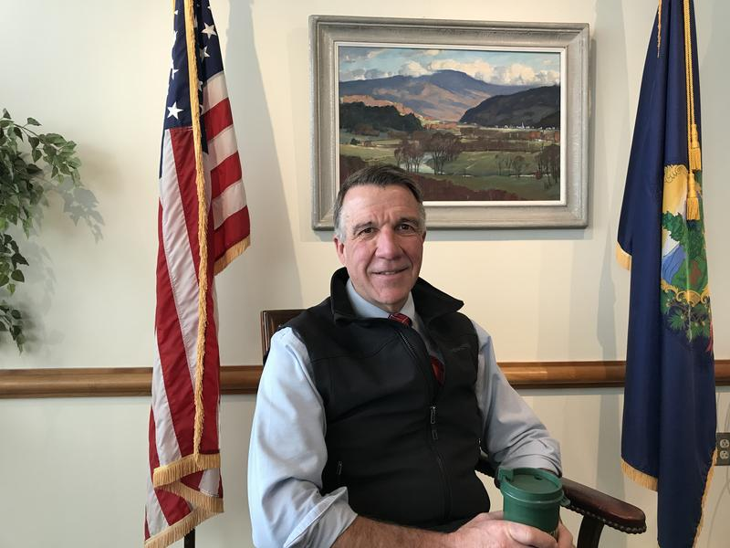 Gov. Phil Scott, seen here in his Montpelier office on the one year anniversary into his two-year gubernatorial term.