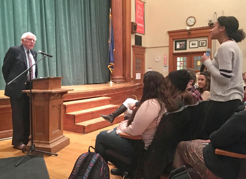 Senator Bernie Sanders asked students at Peoples Academy High School, in Morrisville, to share their plans for after graduation and their experiences as they make decisions about work and higher education.