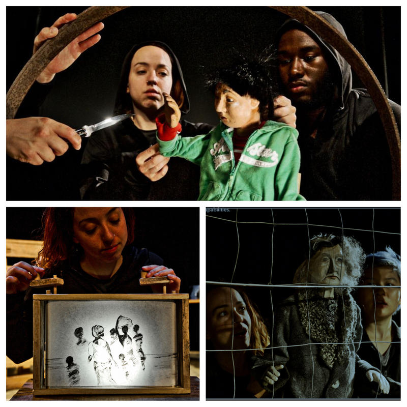 Five performers act through puppets to tell the stories of seven different refugees who fled their homelands and resettled in Vermont in the new Sandglass Theater production, 'Babylon.'