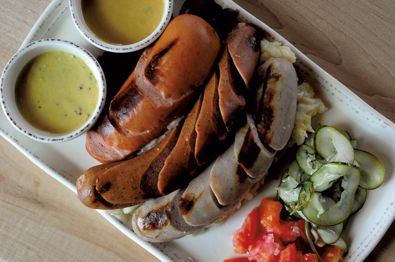 Pictured, one of the many dishes served at The von Trapp Brewing Bierhall that features Austrian sausages.
