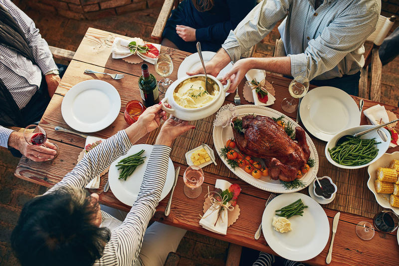 Holiday dinners don't always need to be dictated by tradition but, instead, can include other enjoyable customs chosen by the group you're celebrating with.