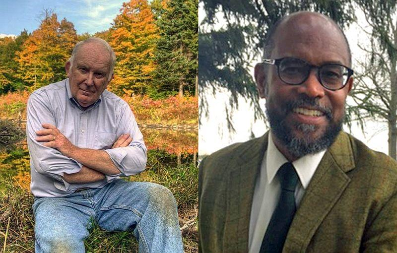 Purdue University professor James Saunders (right) will be speaking about his late friend and author Howard Frank Mosher on Friday in Plainfield.