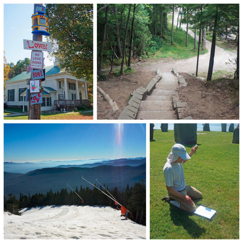 "From top left, clockwise: ""Love"" signs on a pole in Plainfield; stairs leading down to Lake Willoughby's clothing-optional Southwest Cove; Bill Gottesman shows how to use a printed sundial; a peak at Stowe Mountain Resort, which Vail purchased this year."