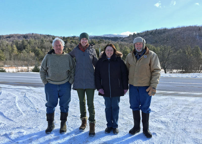 From left, Carl Powden of the Vermont Land Trust, Kate Sudhoff of the Vermont Department of Forests, Parks and Recreation, and Bonnie and Don Bullard stand before a backdrop of Bean Mountain - part of the Bullard Lumber property in Eden.