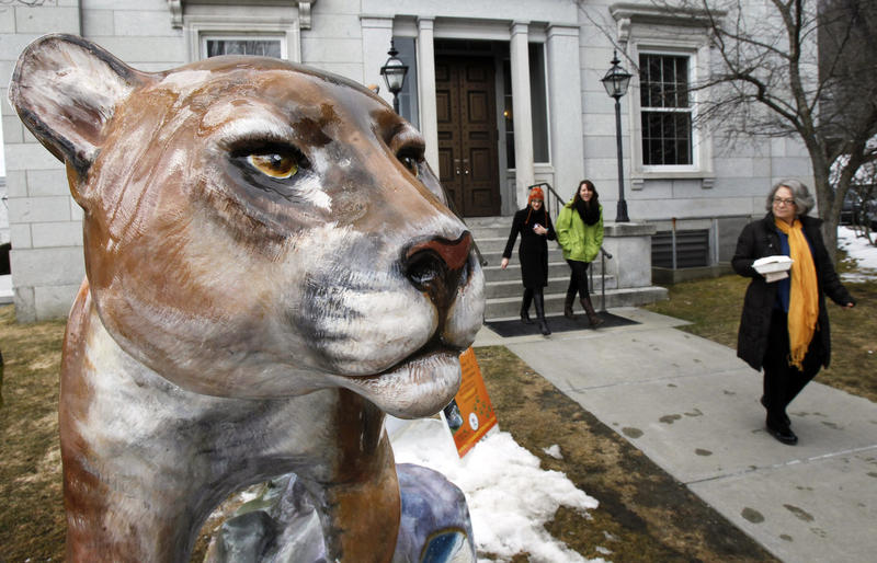 A fiberglass catamount sculpture painted by artist Suzanne Little-Stefanik is displayed at the Statehouse on Tuesday, March 26, 2013 in Montpelier, Vt.