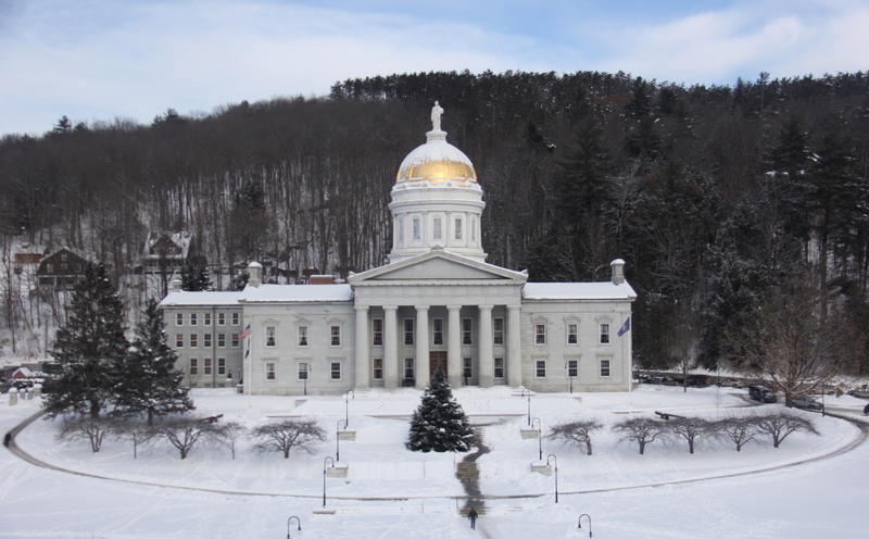 Vermont Statehouse on a snowy day, Jan. 3, 2018