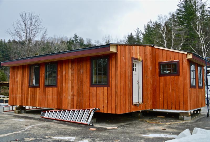 A nearly finished 660 square foot cabin that Yestermorrow Design/Build School was hired to design and build.