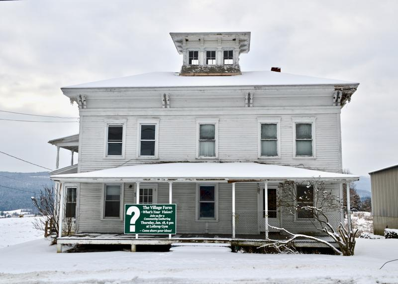 Parts of this farmhouse date to the 18th century. It's part of the centrally located Village Farm in Pittsford that a local couple hopes to turn into a community center.  A sign on the farmhouse advertises a meeting on Jan. 18 to discuss its future.