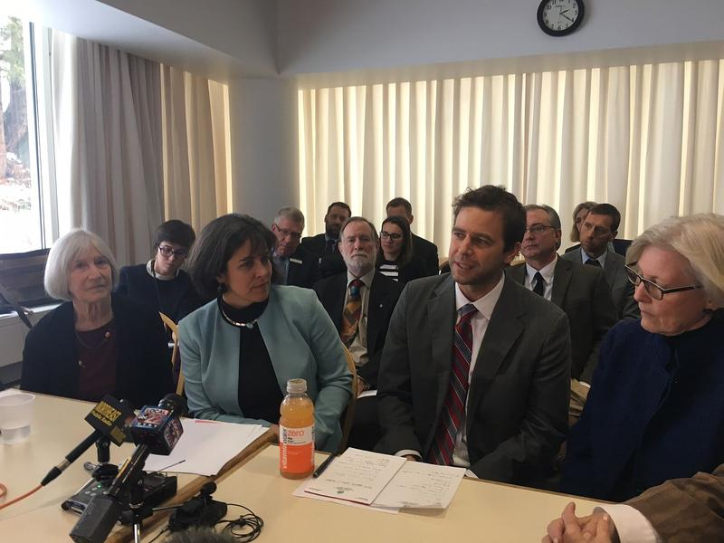 House Speaker Mitzi Johnson and Senate President Pro Tem Tim Ashe, center, flanked by Democratic colleagues in the Legislature, say they have concerns with Gov. Phil Scott's approach to the issue of cost-containment in public schools.