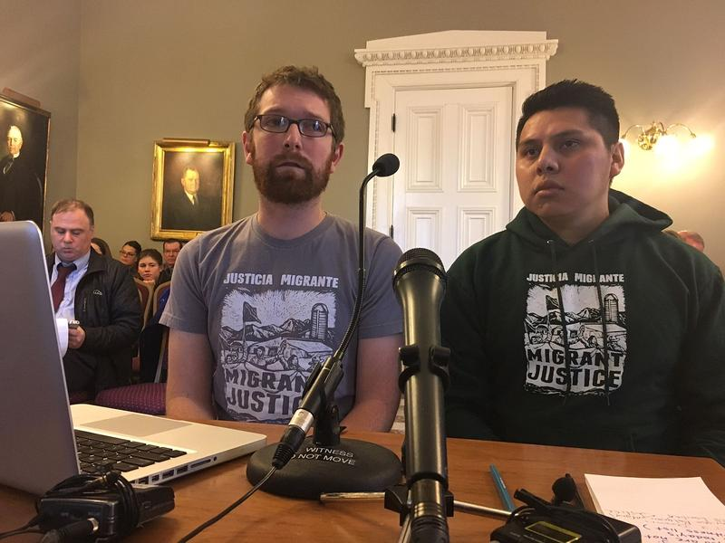Will Lambek, left, and Enrique Balcazar, with Migrant Justice, say the new fair and impartial policing policy opens to door to increased collaboration between local police and federal immigration authorities.