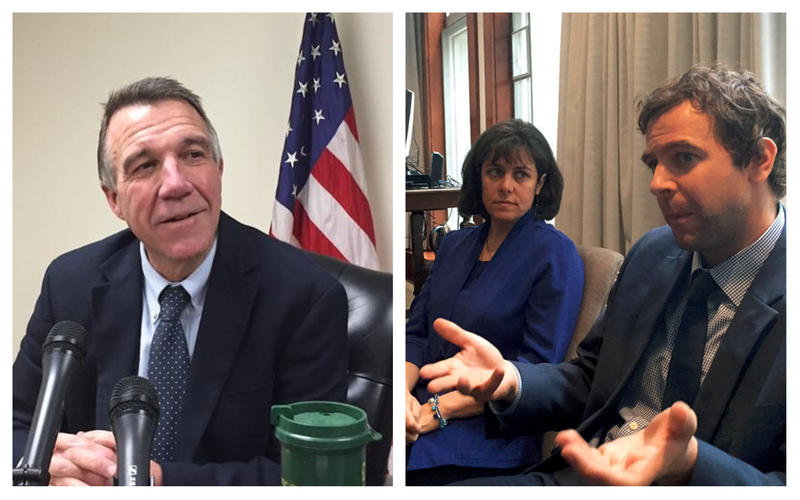 Gov-elect Phil Scott at a desk in 2016, and House Speaker Mitzi Johnson and Senate President Pro Tem Tim Ashe at a 2017 press conference.